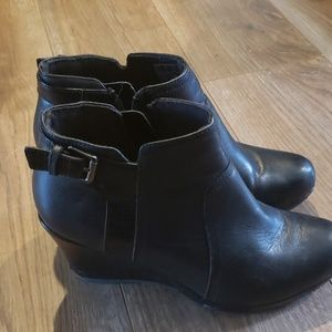 Gently used Clark's wedge booties